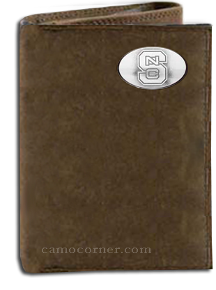 North Carolina State Crazy Horse Tri Fold Wallet