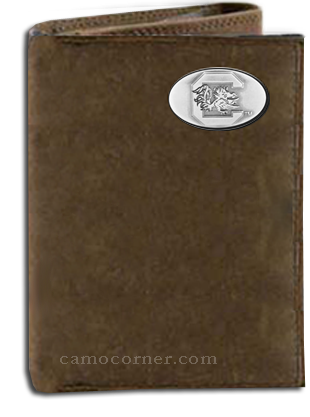 South Carolina Crazy Horse Tri Fold Wallet