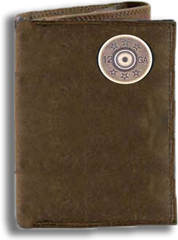 12 Gauge Shot Gun Shell Crazy Horse Tri Fold Wallet