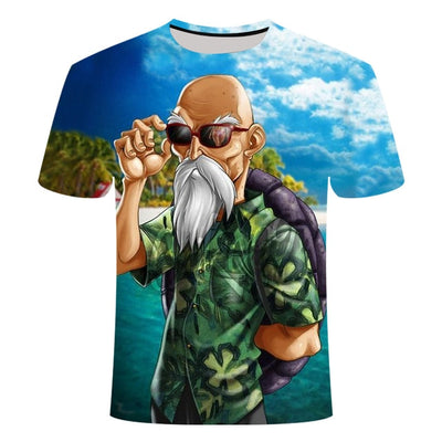 Master Roshi Hawaiian T-Shirt - Kurama Anime Stuff
