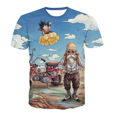 Kid Goku and Master Roshi T-Shirt - Kurama Anime Stuff