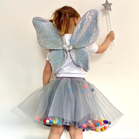 Little Sister Grey Pom Pom Tutu at Our Kid cool girls tutu