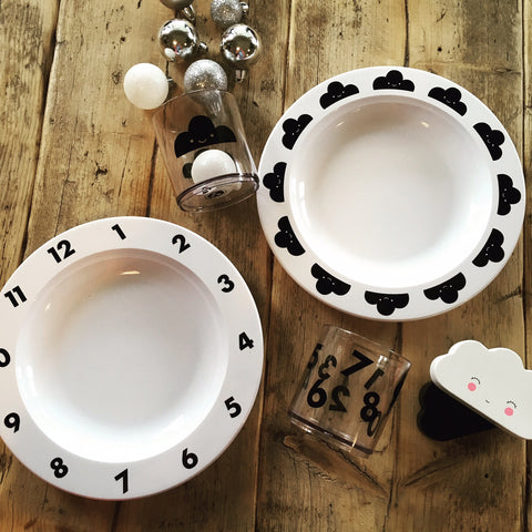 Toddler Table Setting in Monochrome at Our Kid