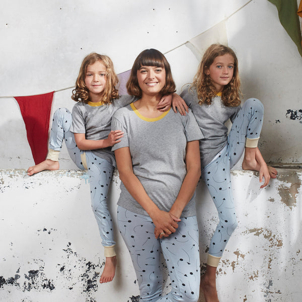Mother Of Daughters Clemmie Hooper models new season sleepwear by The Bright Company
