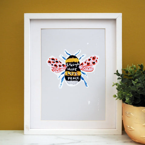 Eleanor Bowmer: Manchester Bee Print Grey (A4)