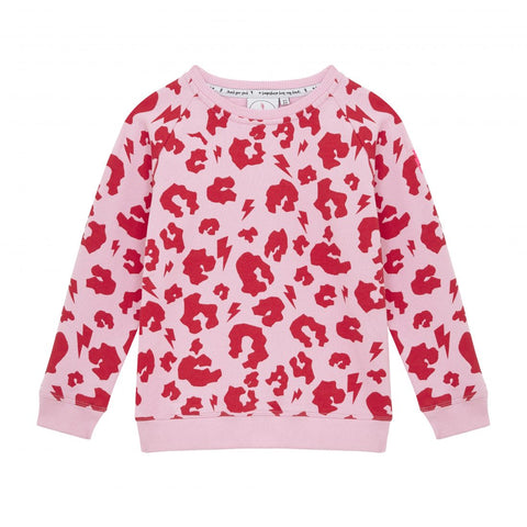 SCAMP & DUDE - Leopard Print Pink With Red Sweatshirt Kids