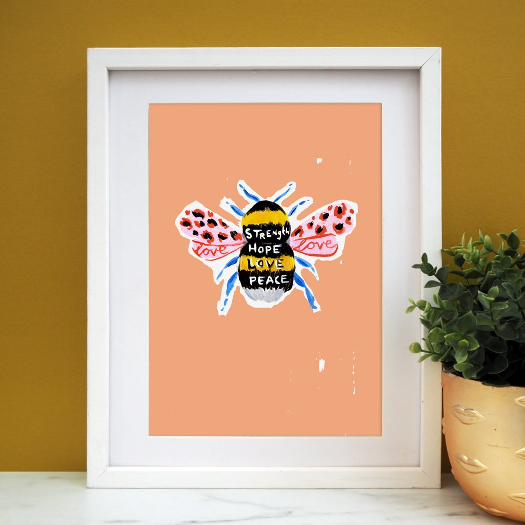 Eleanor Bowmer: Manchester Bee Print Peach (A4)