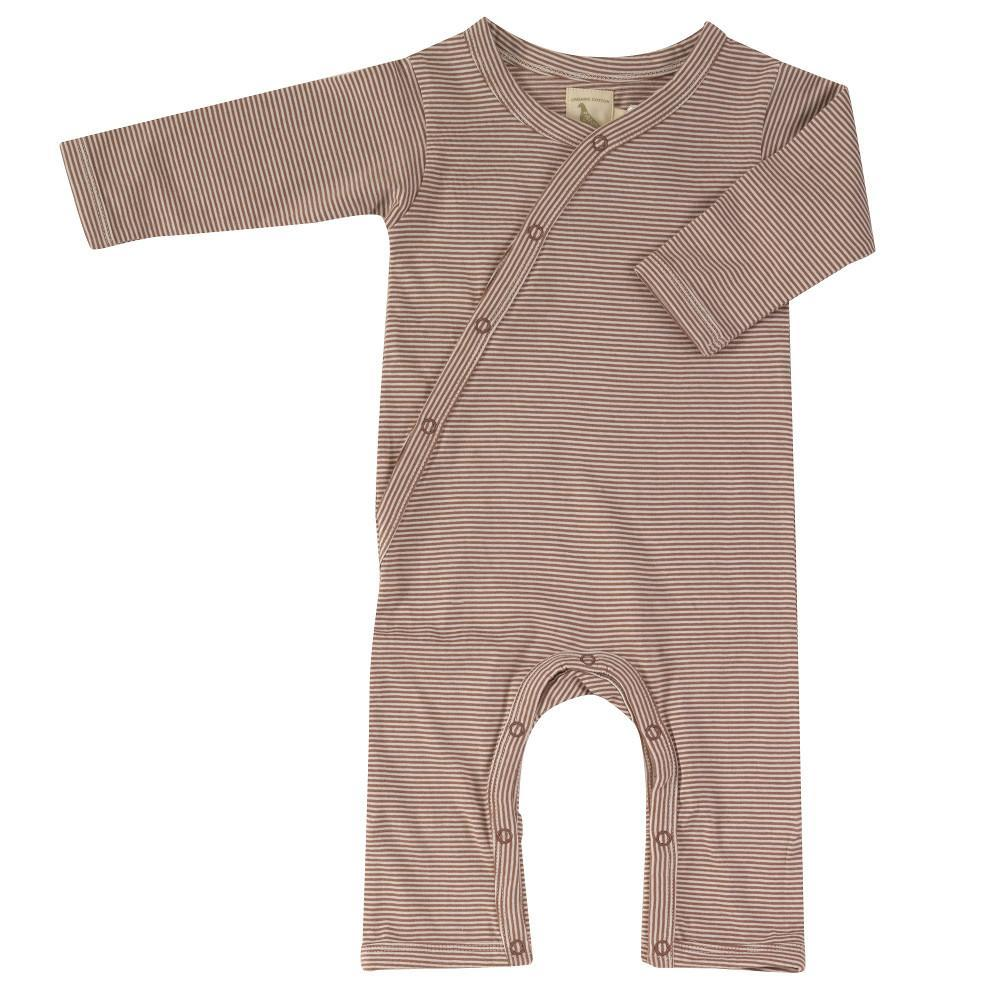 PIGEON ORGANICS - Striped Romper Sleepsuit Walnut