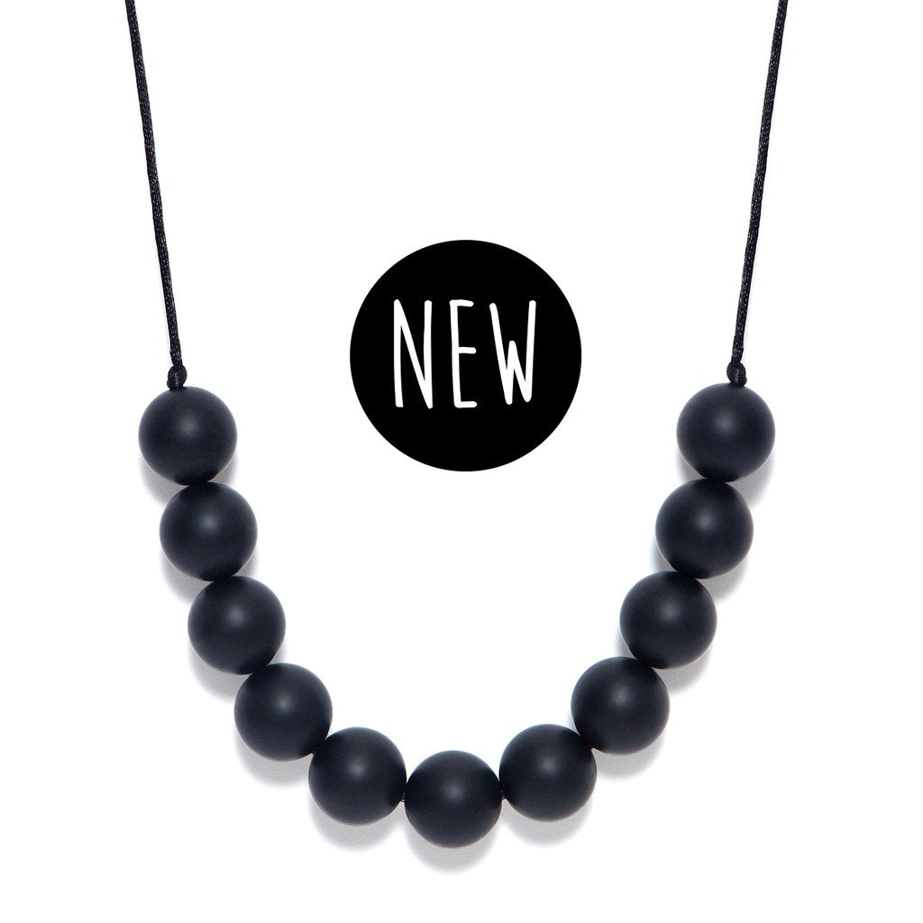 LARA AND OLLLIE - Silicone Teething Necklace Black Round