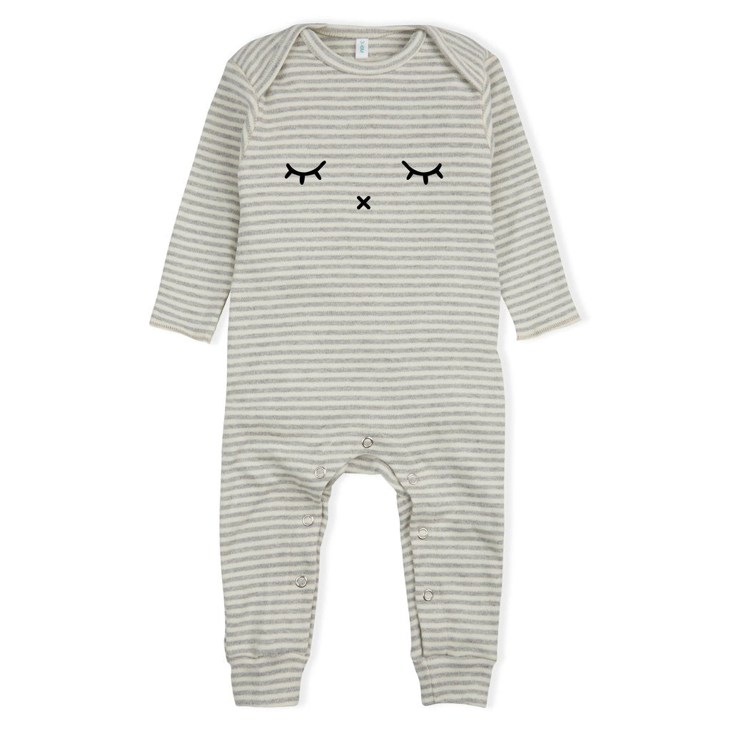 ORGANIC ZOO - Stripy Sleep Playsuit Grey