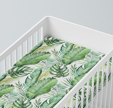 Mama Shack - Banana Leaf Muslin Fitted Cot Sheet