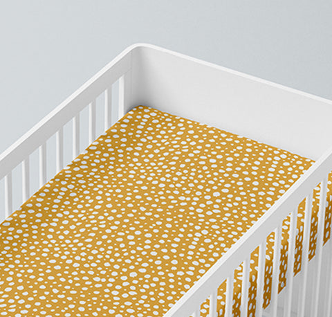 Mama Shack - Mustard Dotty Muslin Fitted Cot Sheet