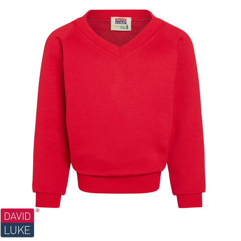 David Luke - V-neck Sweatshirt  – Red