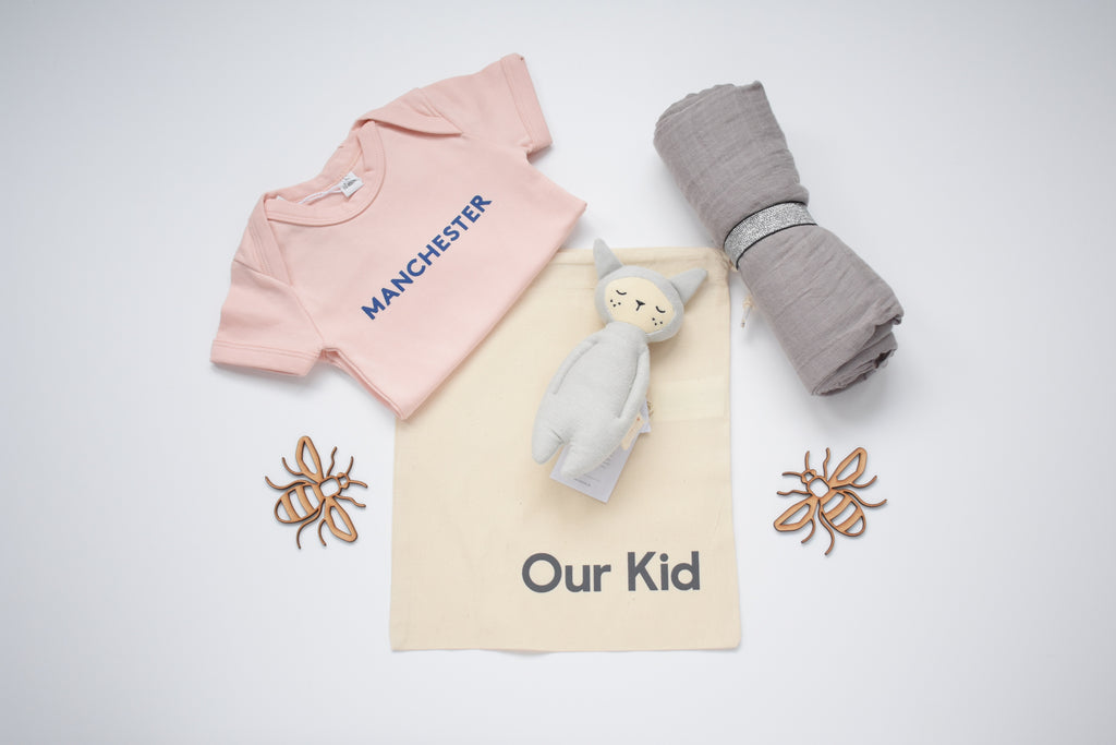 OUR KID BUNDLE - Manchester Slogan Vest in Blush Pink with Large Grey Muslin and Fabelab Rattle