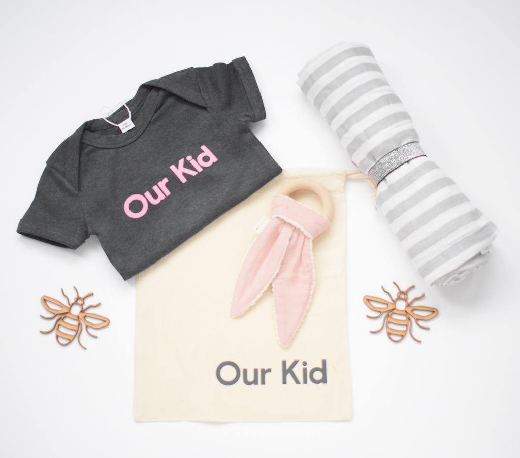 OUR KID BUNDLE - Our Kid Slogan Vest in Charcoal with Large Stripe Muslin and Fabelab Teether