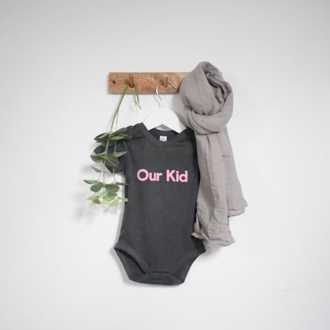 OUR KID BUNDLE - Our Kid Slogan Vest in Charcoal with Large Grey Muslin