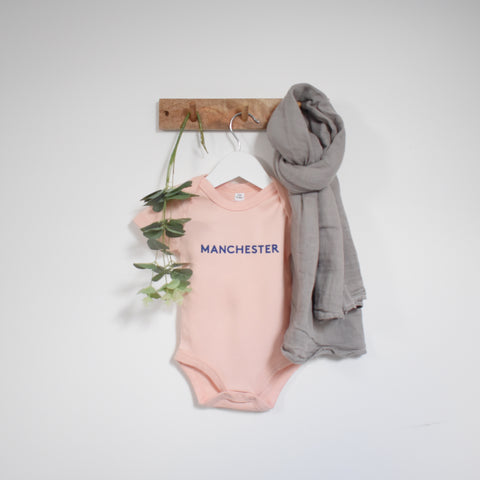 OUR KID BUNDLE - Manchester Slogan Vest in Blush Pink with Large Stripe Muslin