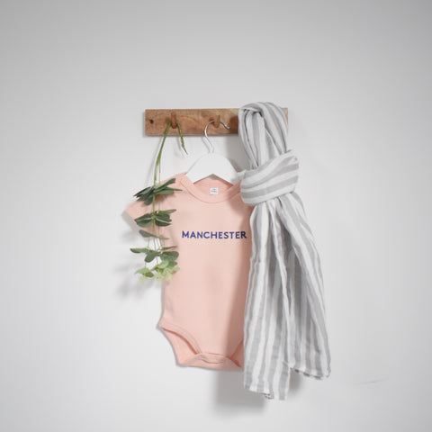 Manchester Slogan Vest for Babies in Blush Pink