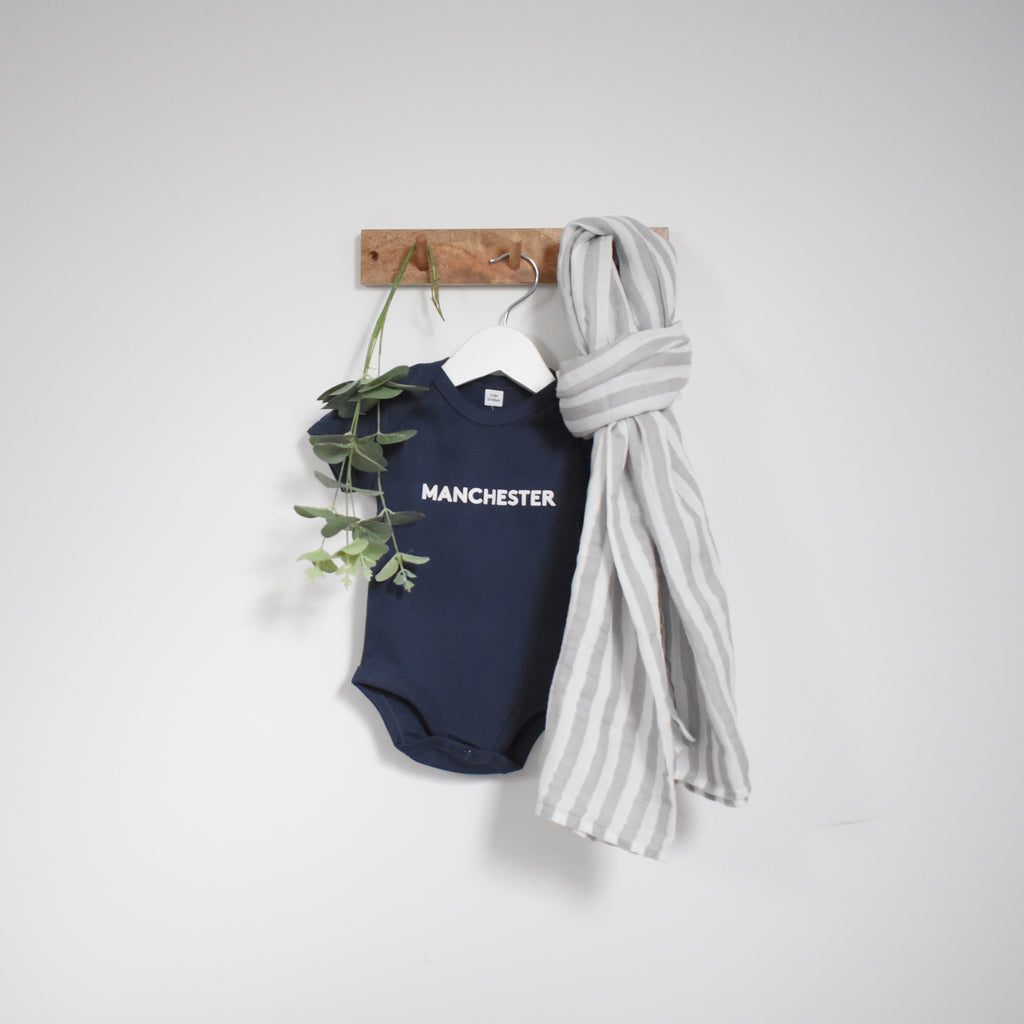 OUR KID BUNDLE - Manchester Slogan Vest in Navy with Large Grey Stripe Muslin