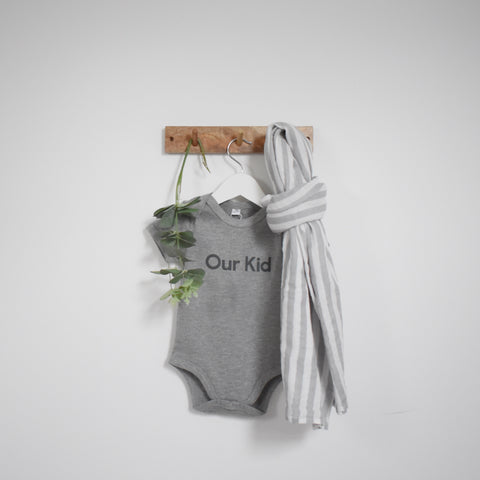 OUR KID BUNDLE - Our Kid Slogan Vest in Grey with Large Stripe Muslin