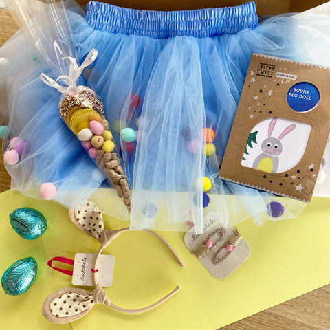 Luxury Easter Bunny Tutu Gift Box with Craft, Bunny Band, Clips & Chocolate for Girls