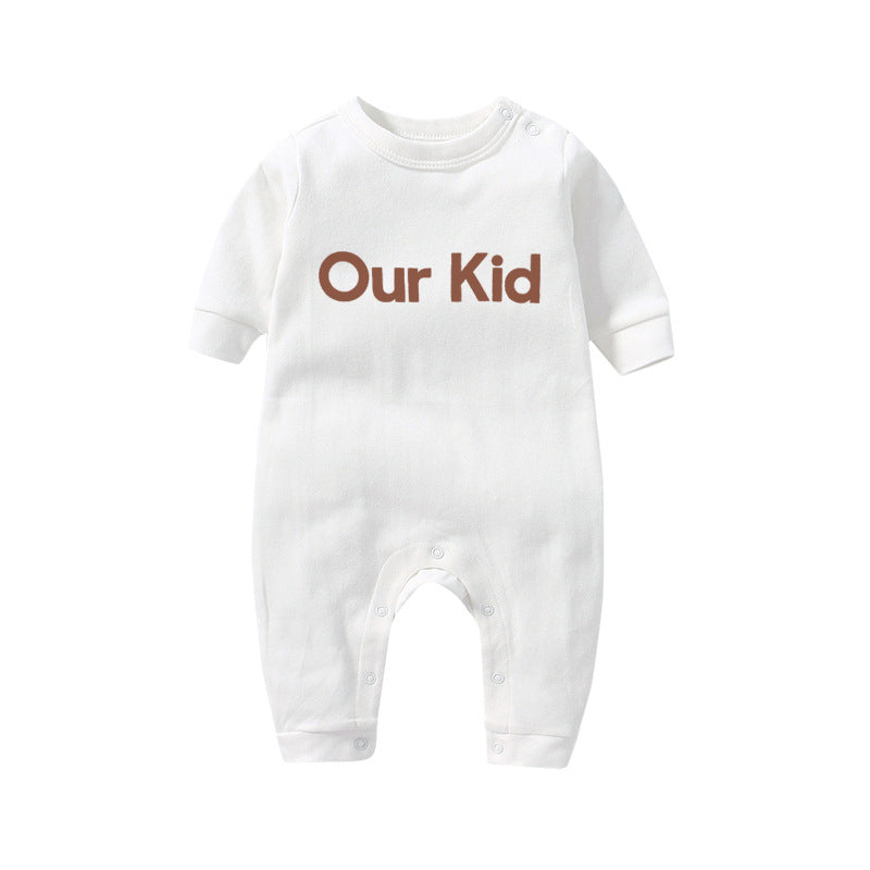 Our Kid Babygrow in White with Red Slogan