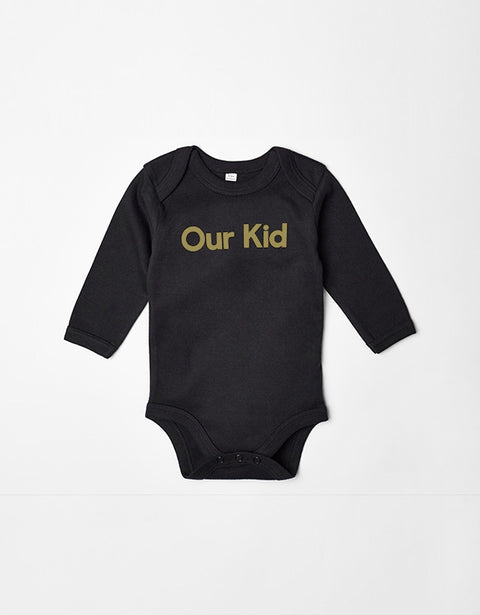 Our Kid Slogan Vest Black and Gold Body with Long Sleeves