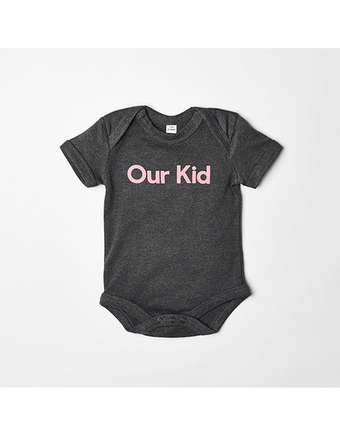 OUR KID - Short Sleeve Pink Slogan Vest in Charcoal