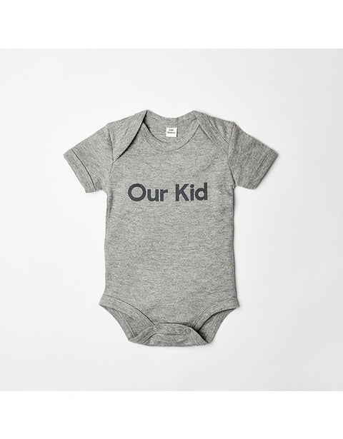 OUR KID - Short Sleeve Grey Slogan Vest in Heather Grey