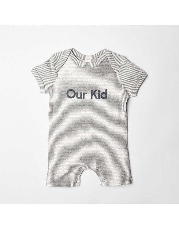 OUR KID - Shortie Playsuit with Slogan in Heather Grey