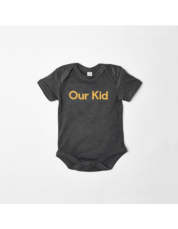 Our Kid Slogan Vest for Babies in Charcoal + Mustard