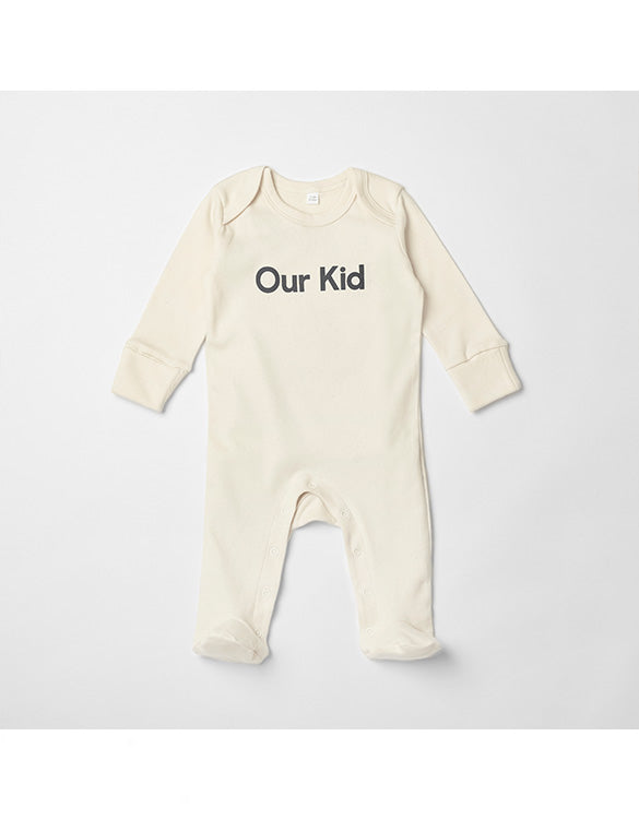 OUR KID - Natural Sleepsuit with Grey Slogan