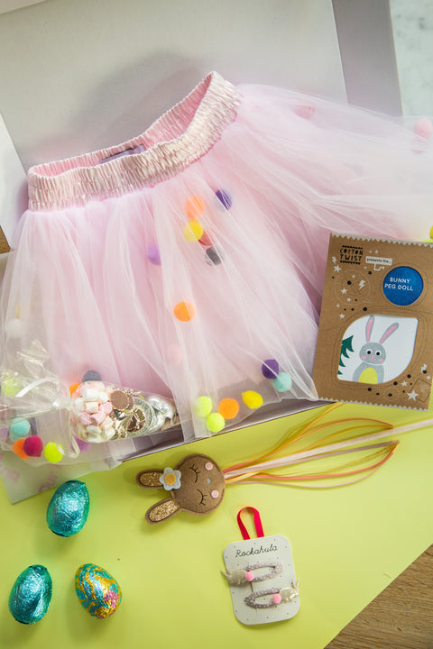 Ultimate Bunny Gift Box with Pink Pom Pom Tutu, Clips, Wand and Treats