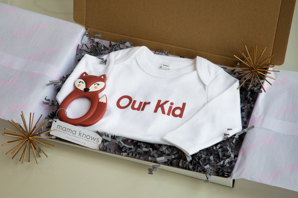 Our Kid Gift Box for Baby with Red Babygrow Vest