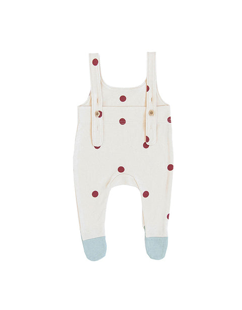 ORGANIC ZOO - Salopettes Suit with Contrast Feet - Burgundy Dots