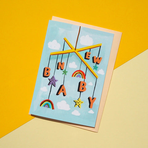Eleanor Bowmer:  New Baby Mobile Card
