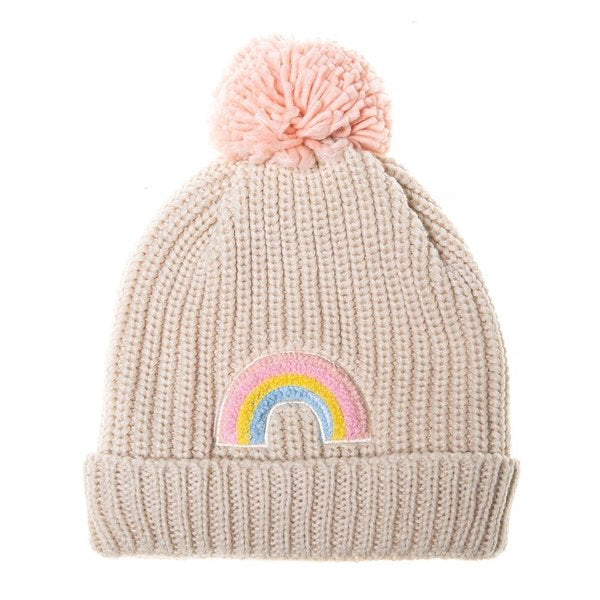 ROCKAHULA - Dreamy Rainbow Knit Bobble Hat Pink