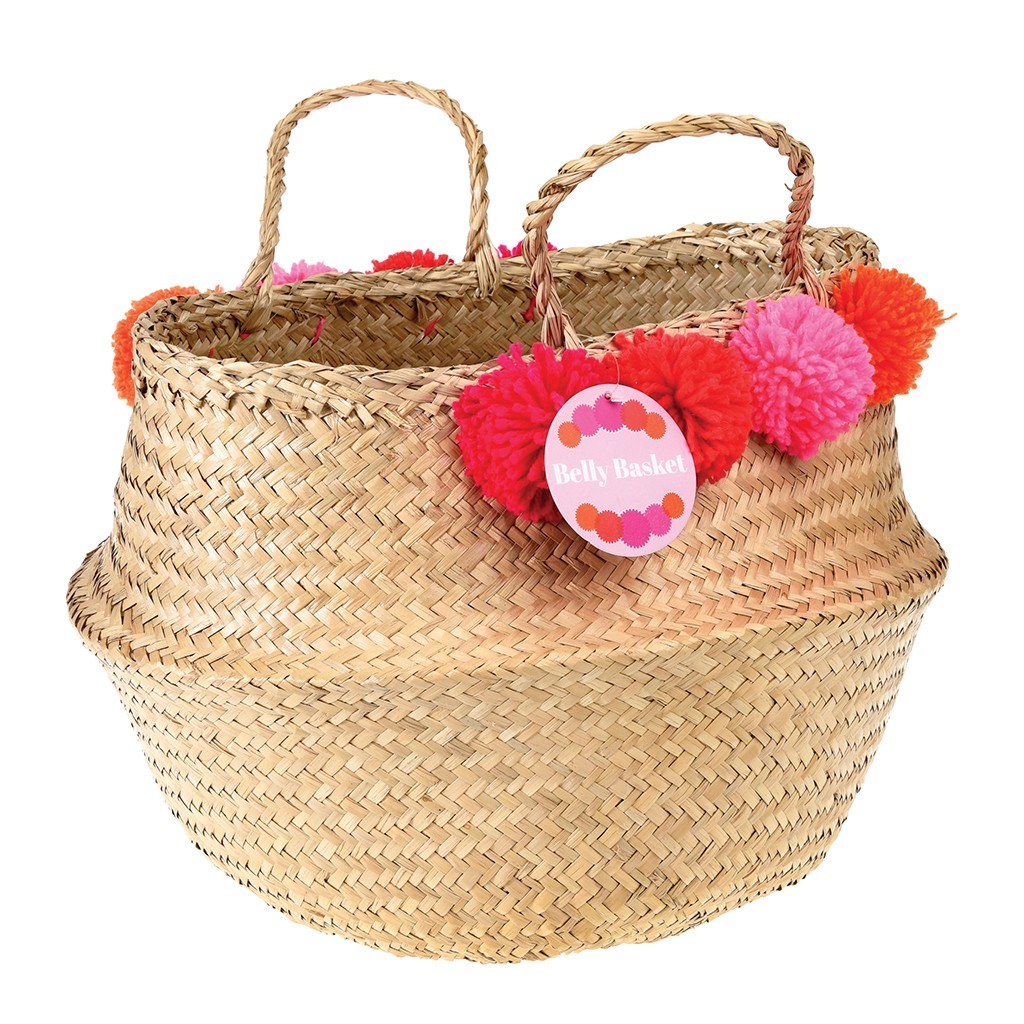 Pink Pom Pom Belly Basket