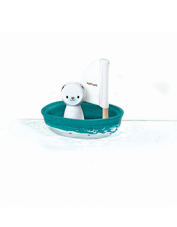 PLAN TOYS - Polar Bear Boat Bath Toy