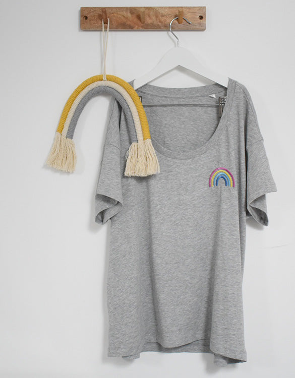 Our Kid Rainbow Charity Tee - Grey Relaxed Fit Women's T-Shirt
