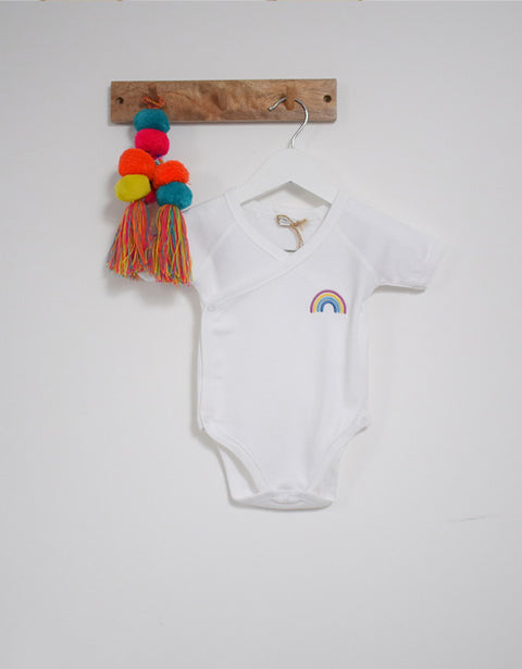 Our Kid Rainbow Charity Vest - Short Sleeve Rainbow Kimono Vest in White