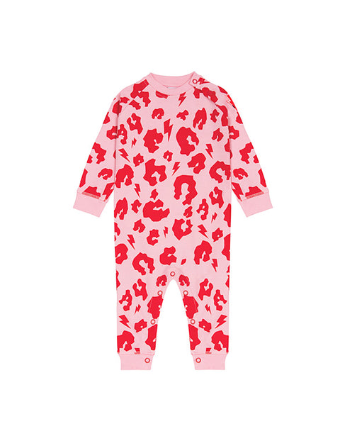 SCAMP & DUDE - Pink and Red Leopard with Lightening Bolt Romper Sleepsuit