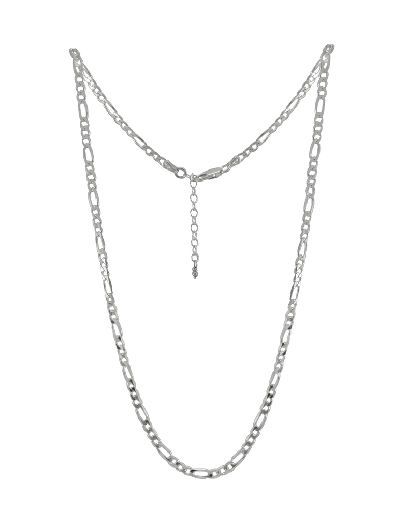 sterling silver figaro chain layering necklace