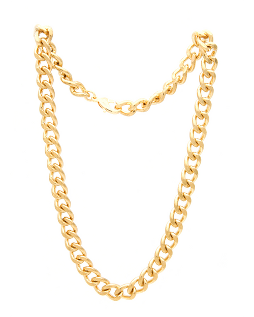 14k gold plated chunky cuban link statement chain necklace