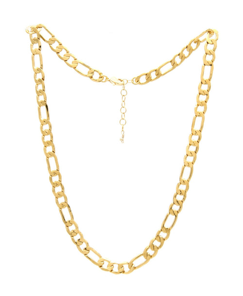 gold plated Figaro link chain statement necklace