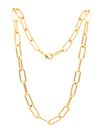 gold Elongated oval link statement chain necklace
