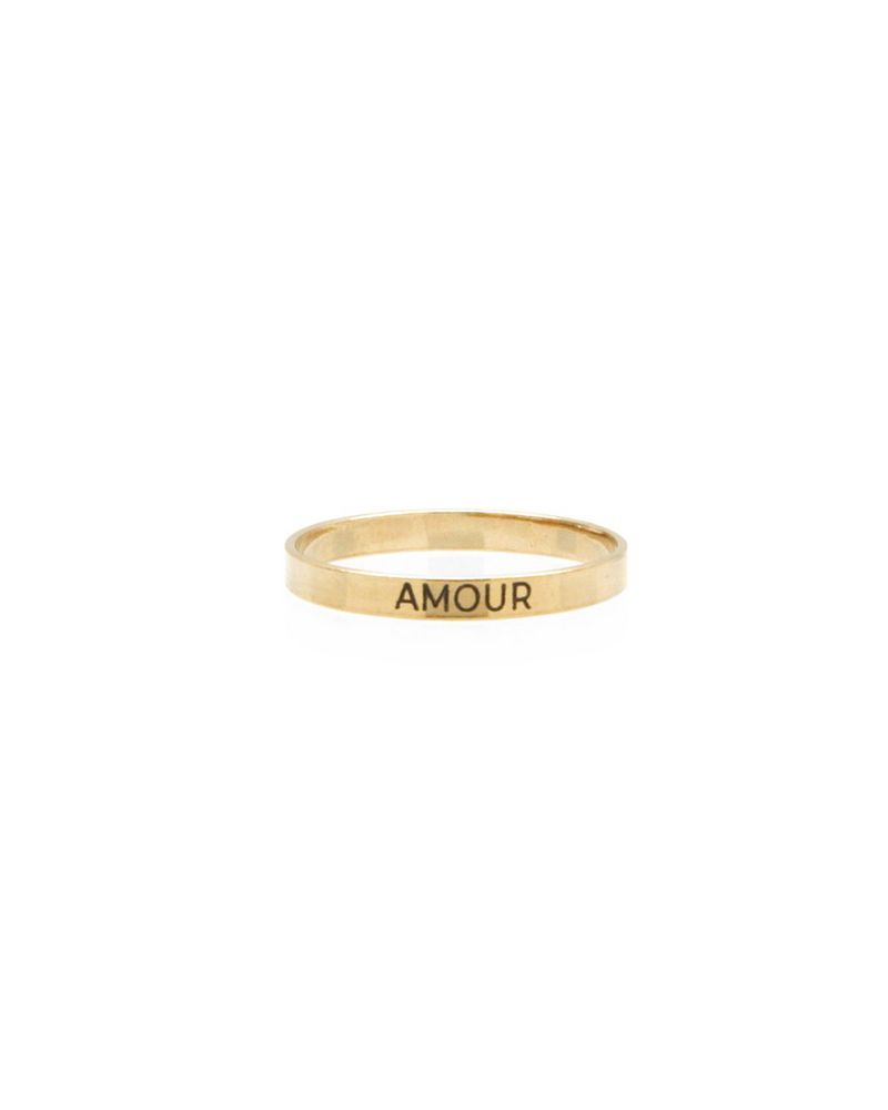 "14k Gold filled thin ban ""Amour"" engraved ring"