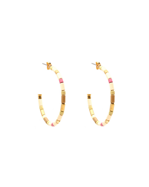 multi-colored enamel beaded hoop earrings