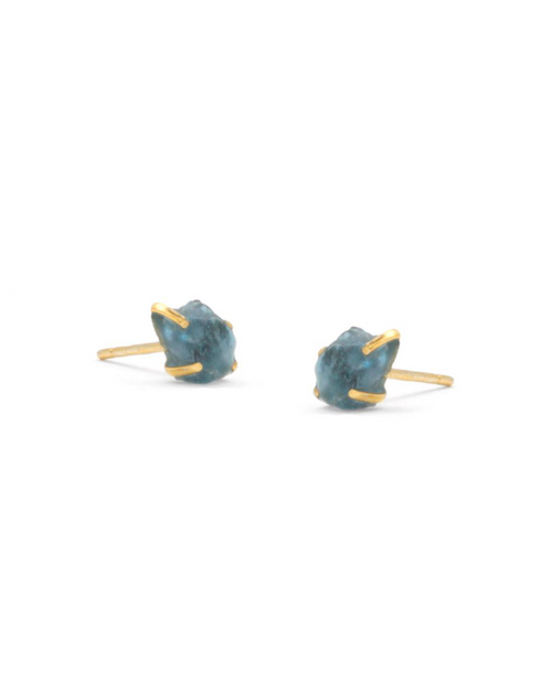 aquamarine raw cut raw stone studs earrings
