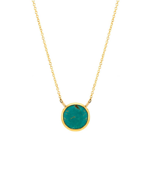 gold turquoise bezel necklace